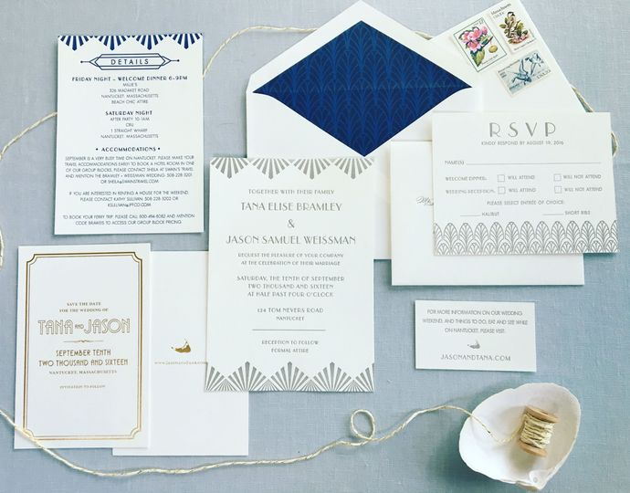 Art deco wedding invitation in navy and gray