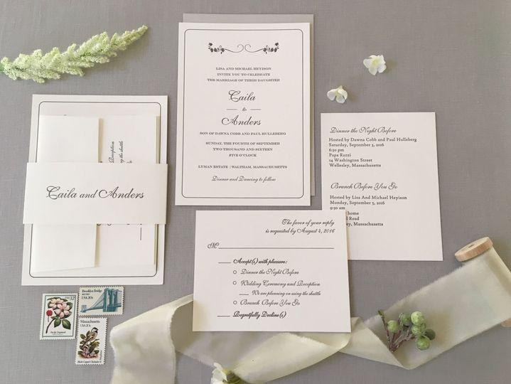 Classic gray letterpress wedding invitation