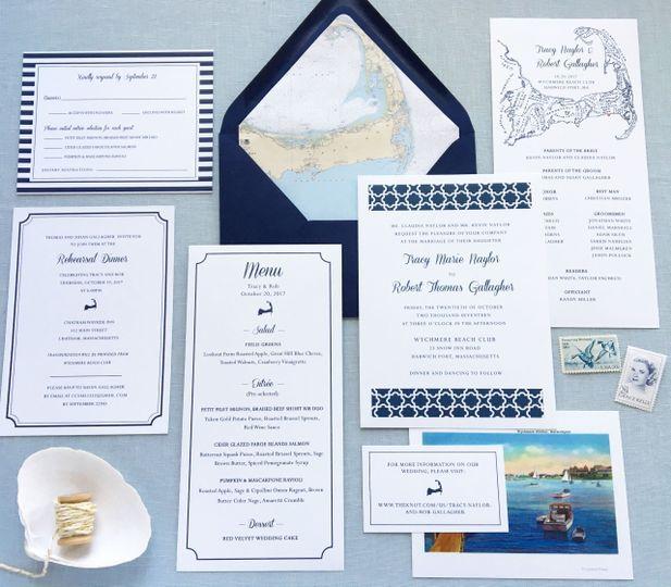 Nautical blue and white wedding invitation