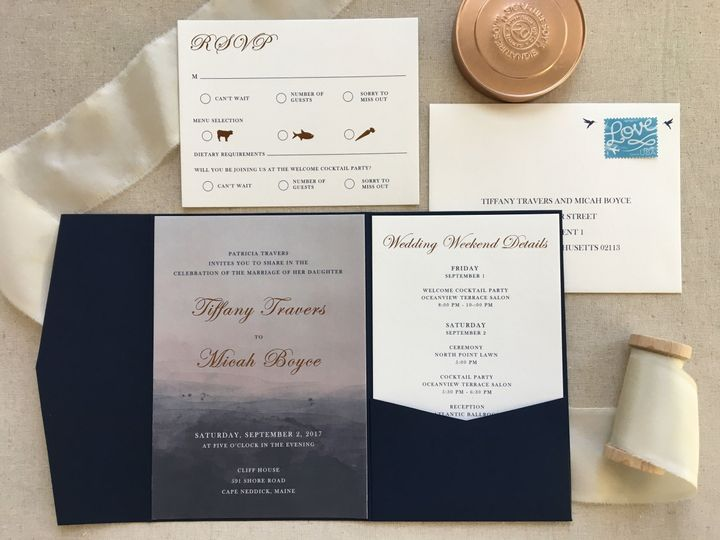Ombre wedding invitation with gold foil details
