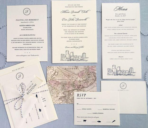 Boston city skyline wedding invitation