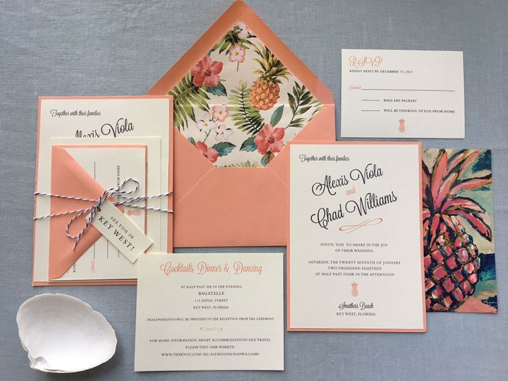 Tropical coral and navy wedding invitation suite
