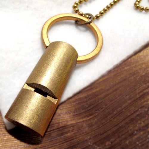 vintage brass whistle pendant