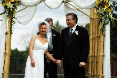 This is Kathy & Don following their ceremony at Tower Hill Botanical Garden, W. Boylston MA