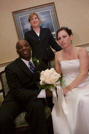 Jennifer Pearl with Melanie & Carlos following their ceremony at the Adams Inn, Quincy MA