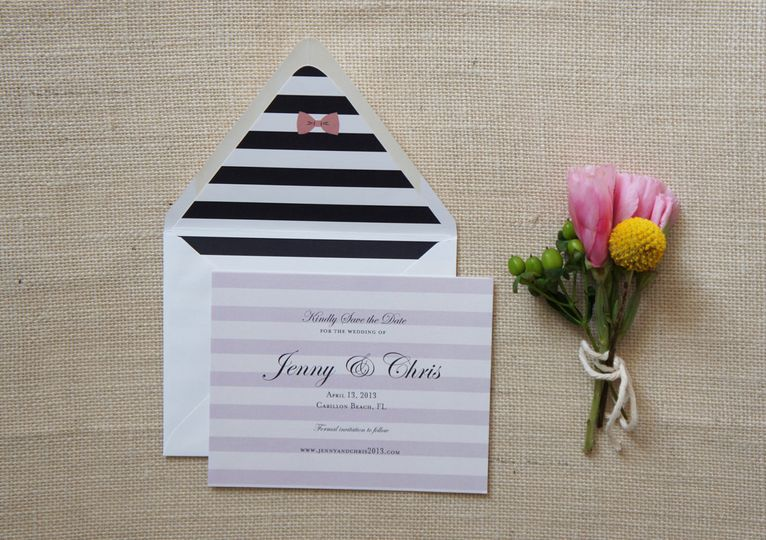 Preppy save the date cards with stripes and bow detail