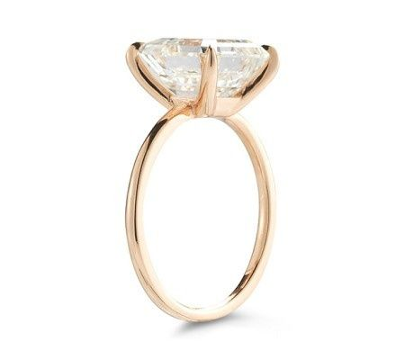 The Robin setting featuring a 4 Carat Asscher Cut Diamond in Rose Gold