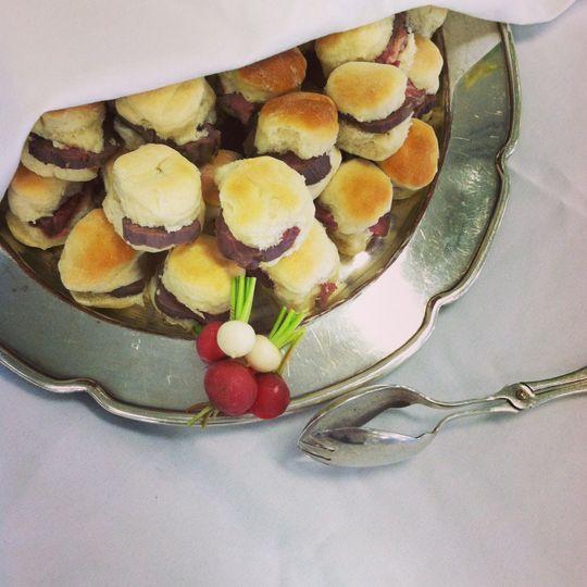 Tenderloin on mini yeast rolls for a birthday buffet
