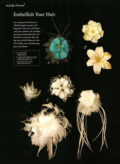 """Bride & Bloom"" magazine featured a selection of our hair flowers."