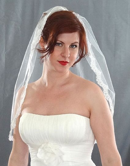Thin French Alencon Lace Edge Veil - Seeking a veil with a touch of lace but not overpowered trim?...