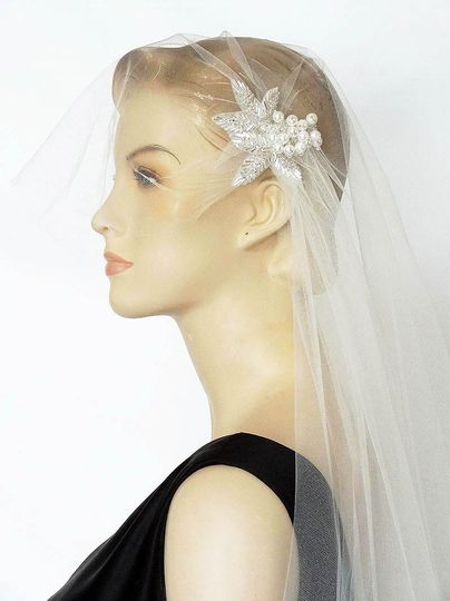 Cap Veil with Short Blusher and Beaded Vintage Applique