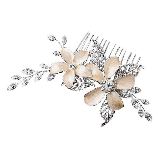 Champagne Flower Wedding Comb