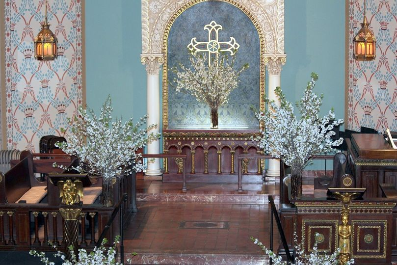 altar with apple blossoms murray wedding