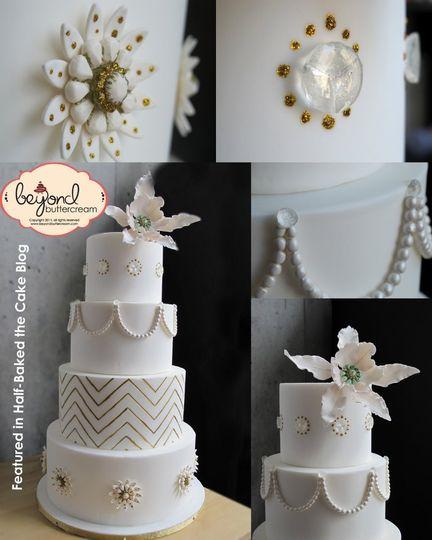 Cake featured in Half Baked, the Cake Blog.  Fondant over dark chocolate ganache with sugar gems,...