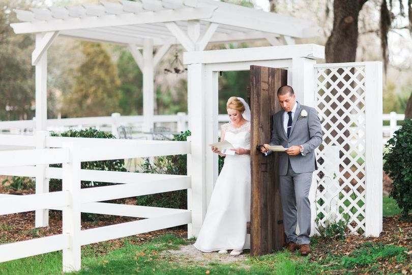 Sean + Claire exchange letters before their ceremony at the Bramble Tree Estate in Sorrento,...