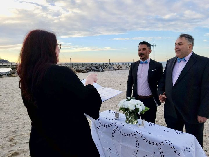 During the ceremony at the beach