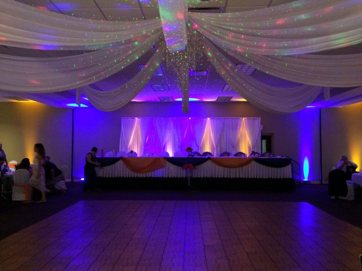 Wedding Party Table with Up Lights in dark blue and orange