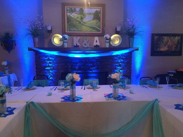 Wedding Party Table with light blue Up Lights