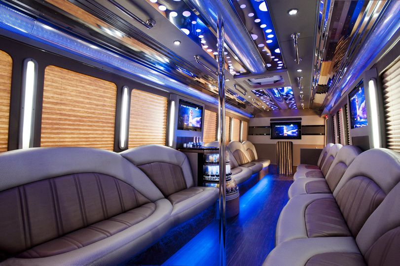 Thirty-passenger party bus interior