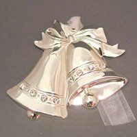 Dapped silvertone wedding bells accented with Swarovski crystals.  Can be engraved on both sides for...