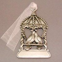 Genuine pewter loverbirds keepsake in cage.  Customize with engraving on the bottom.  Made in USA.