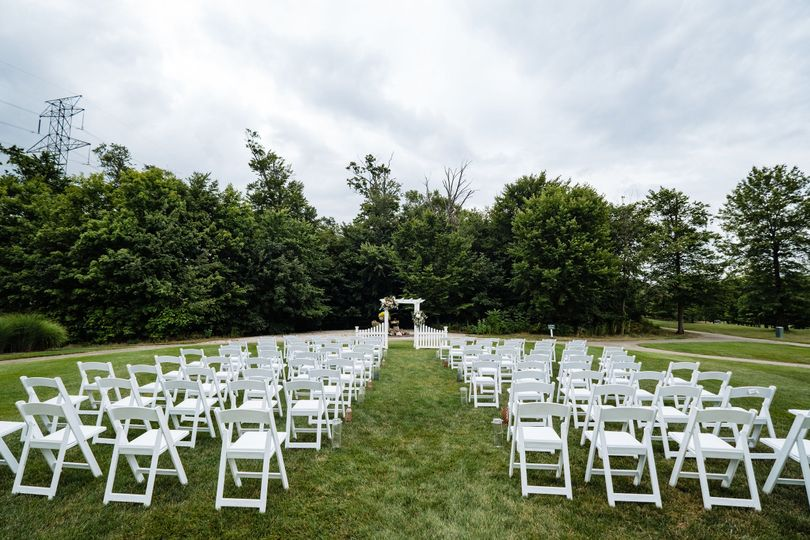 Ceremony facing woods
