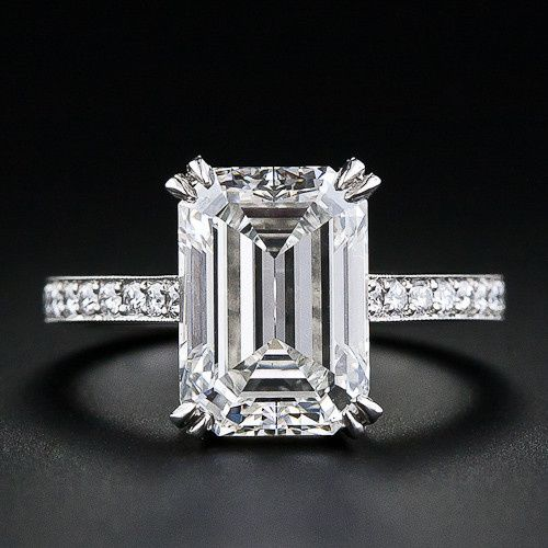 Tmx 1382543026529 Emerald Cut Engagement Ring With Bead Set Band Los Angeles, CA wedding jewelry