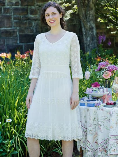 Andrea Dress - The romance of another era. With its delicate embroidered roses and fluttering...