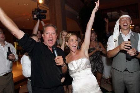 The bride and the DJ partying