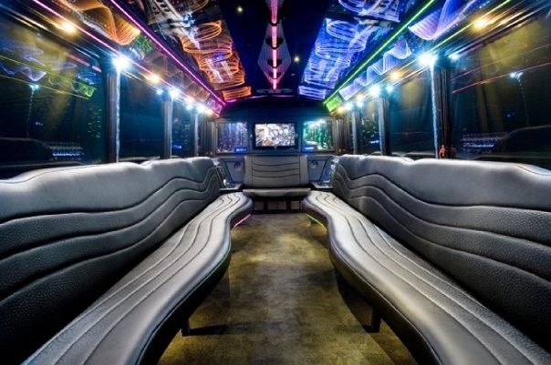 "26 Passenger ""Black Pearl"" interior is equipped with 2 Huge Flat Screens, DVD, Rear Stereo with..."