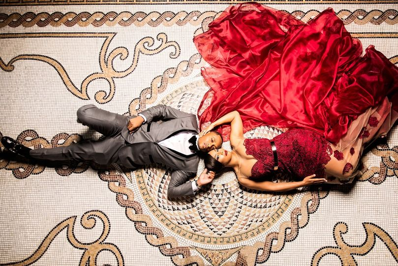 Photo of newlyweds from above