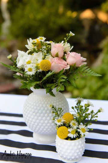 Milk Glass vase and flowers