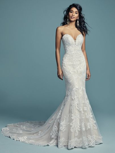 Mermaid tail lace wedding gown