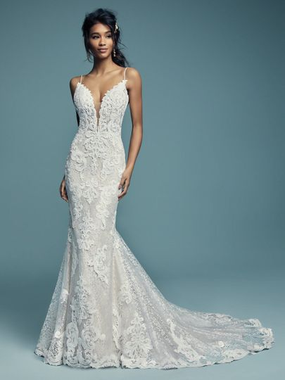 Lace dress with deep neckline