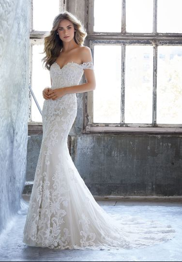 Lace off-shoulder gown