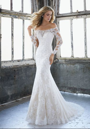 Sleeved off-shoulder wedding gown