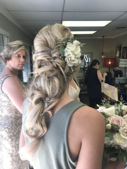 Barbie blonde hair with flower accents