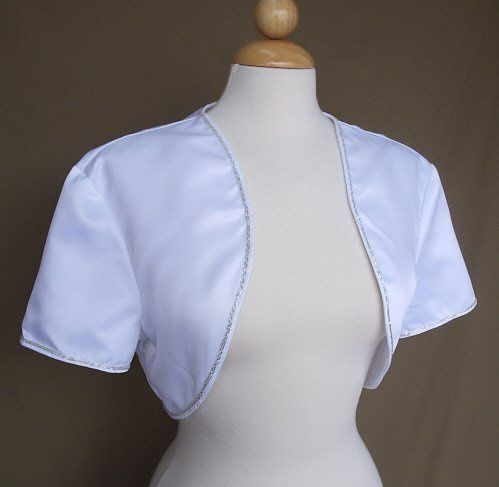 Elegant satin bridal shrug with beaded edges. Available in Ivory or white, sizes  small to 4XL....