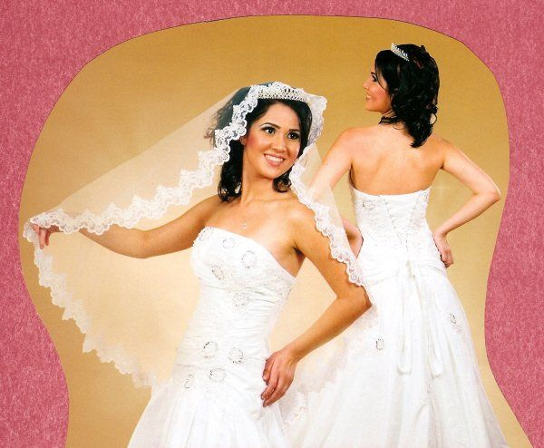 """Beautiful  1-layer beaded and secuence lace veil 42"""" long, available in ivory or white $75.00 Free..."""