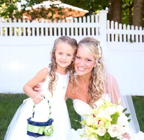 The bride and flower girl