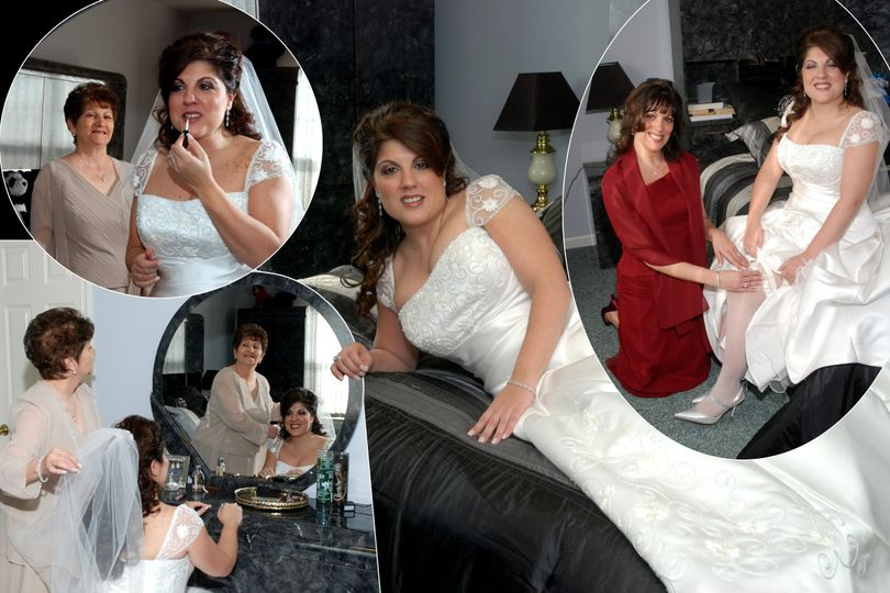 Composite page of photos at the house in the brides bedroom.