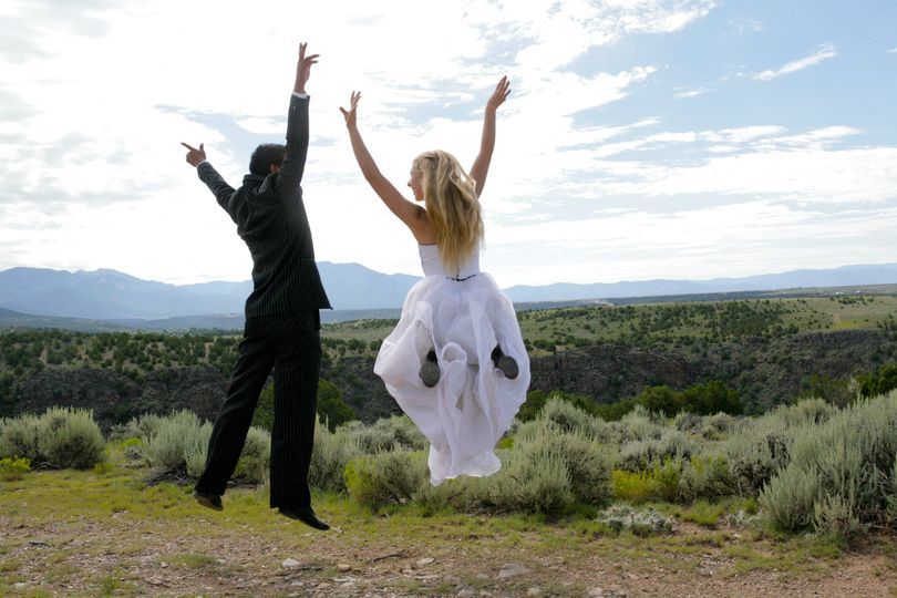 Taos Bride and Groom at Taos Gorge Overlook