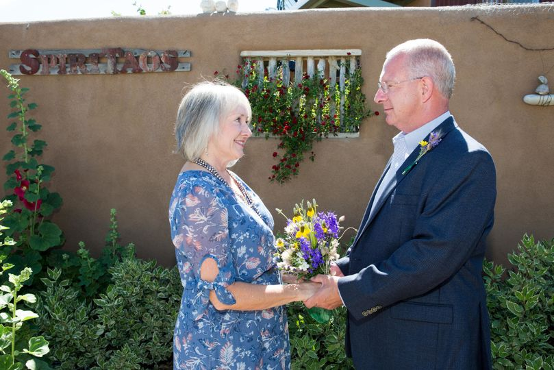Older couple married at SpiriTaos in Taos, NM
