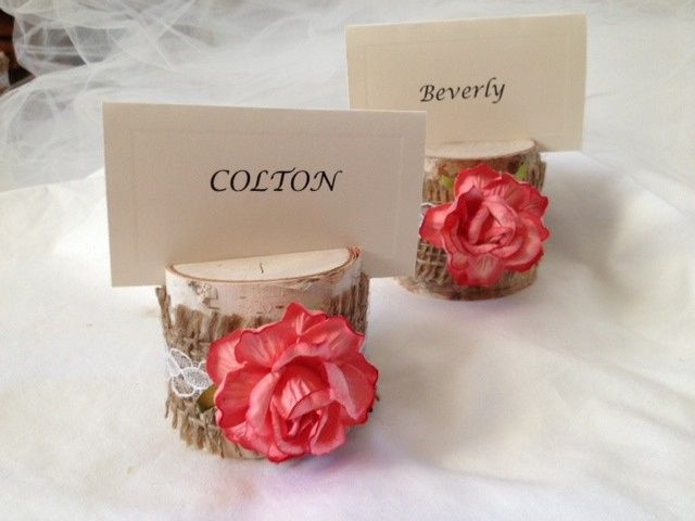 The coral color of this rose is divine. We added burlap and lace, and we think it's the perfect...