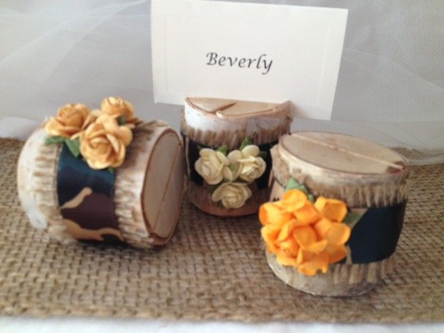 This listing is for a set of 10 natural birch wood place card holders for $35.00  Each birch wood...