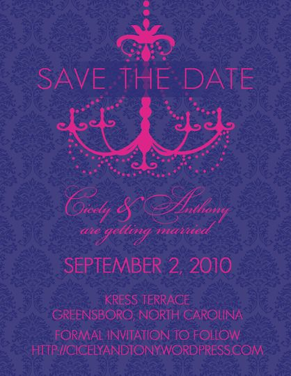 Custom Save the Date for client whose theme is damask and chandeliers, and whose colors are navy and...