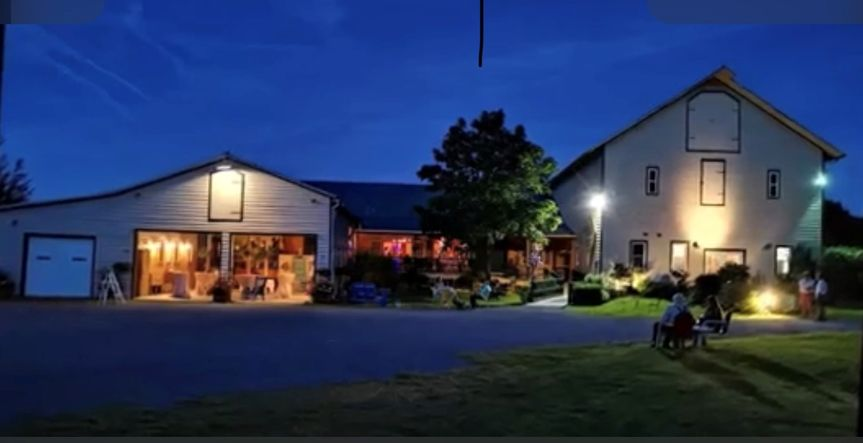 Night view of the barn