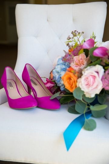 Bridal shoes and bouquet