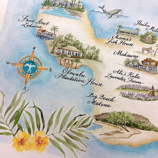 Custom Watercolor Maps