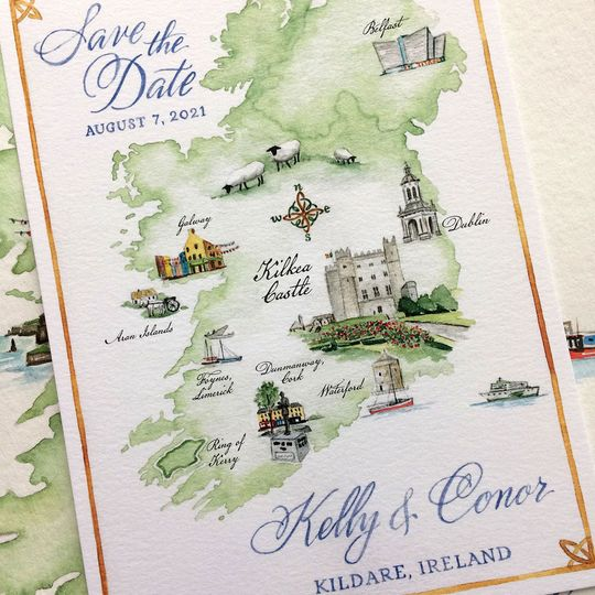 Ireland Map Save the Date